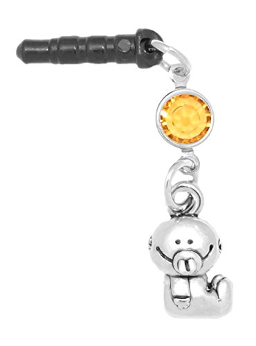 Clayvision Baby Girl or Boy Phone Charm Topaz Colored Crystal November Black Plug ()