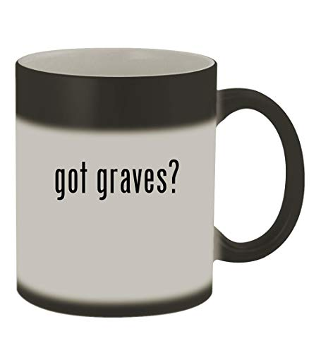 Michael Graves Glass Mug - got graves? - 11oz Color Changing Sturdy Ceramic Coffee Cup Mug, Matte Black