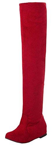 Frauen Stiefel 2014 Herbst-Winter-Damenmode Flachboden Stiefel Schuhe Overknee Overknee-Stiefel aus Wildleder Lang Rote