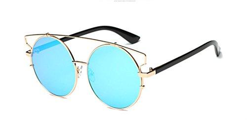 Wer Bin Ich Frau Fashion Metall Runden Rahmen Sonnenbrille Bunte,Blue