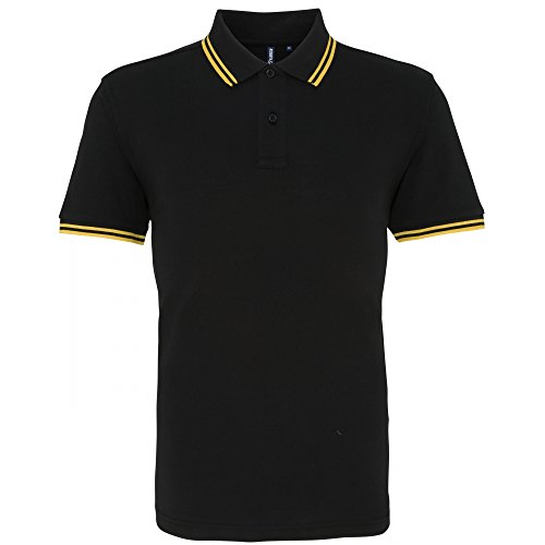 Asquith & Fox Mens Classic Fit Tipped Polo Shirt (XL) (Black/Yellow)