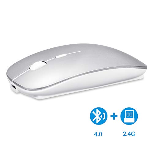 Bluetooth Wireless Mouse, Dual Mode Slim Rechargeable Wireless Mouse Silent Cordless Mouse with Bluetooth 4.0 and 2.4G Wireless, Compatible with Laptop, PC, Windows Mac Android OS Tablet (Sliver) ()