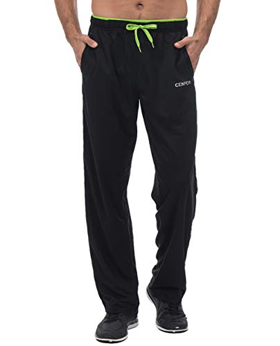 CENFOR Men's Sweatpant with Pockets Open Bottom Athletic Pants for Jogging, Workout, Gym, Running, Hiking, Training(Black,XL) (Xl Mens Gym Pocket Pants)