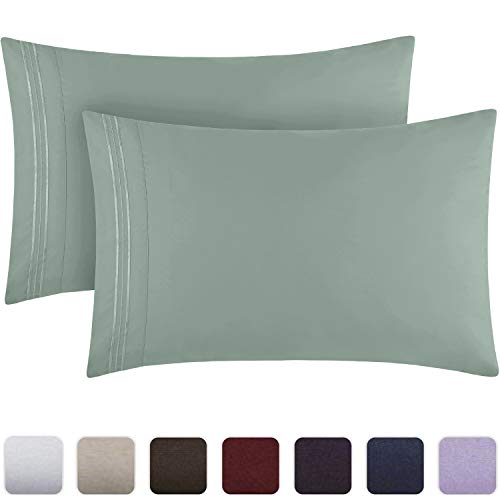 Mellanni Luxury Pillowcase Set - Brushed Microfiber 1800 Bedding - Wrinkle, Fade, Stain Resistant - Hypoallergenic (Set of 2 Standard Size, Spa Blue)