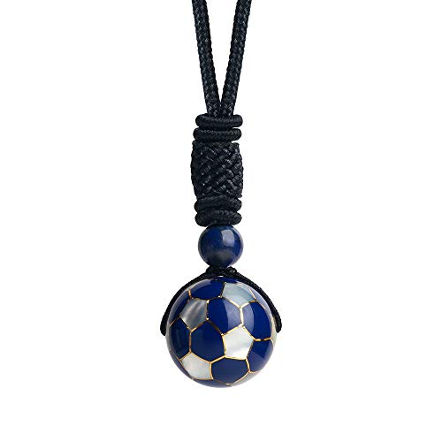 - iSTONE Unisex Genuine Round Gemstone Beads 20mm Football Pendant Necklace with Adjustable Nylon Cord 24 Inch (20mm Football)