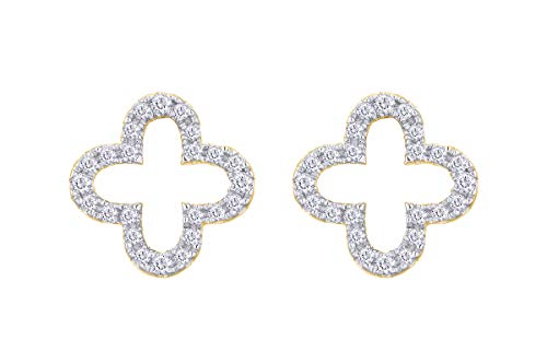 - Aria Jewels Minimalist Diamond Clover Stud Earrings in 14K Yellow Gold Over Sterling Silver for Women (1/10 cttw, I2-I3, I-J)