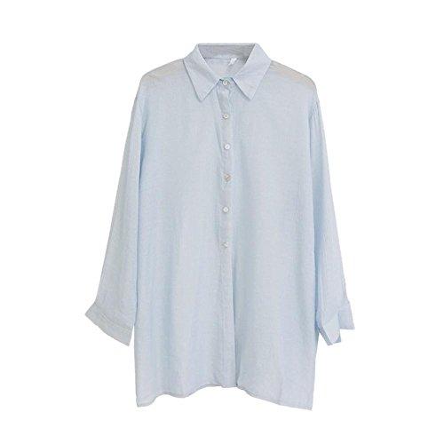 (ワンース) Wansi カーディガン レディース シャツ ゆる 薄手 ブラウス ロング丈 折り襟 夏 日焼け止 冷房対策 ファッション ブルー