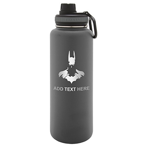 Army Force Gear Personalized Batman Face Silohuette Laser Engraved Thermoflask Leak Proof Insulated Stainless Steel Workout Sports Water Bottle Tumbler, 24 Oz, Gray