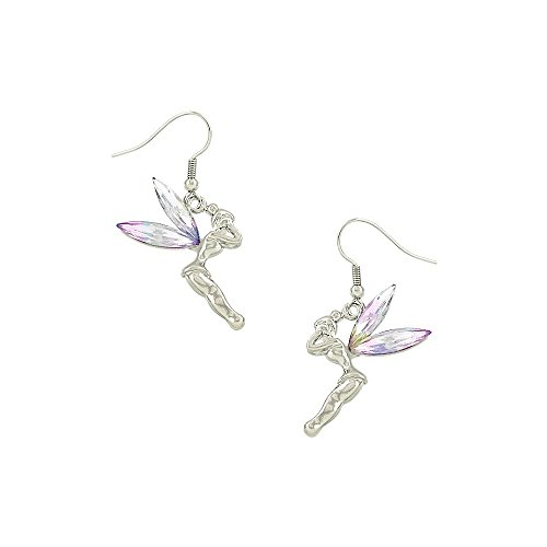 Liavy's Tinker Bell Fairy Fashionable Earrings - Fish Hook - Sparkling Crystal - Aurora Borealis