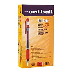 uni-ball Gel Grip Pens, Medium Point, 0.7 mm, Clear Barrel, Red Ink, Pack of 12