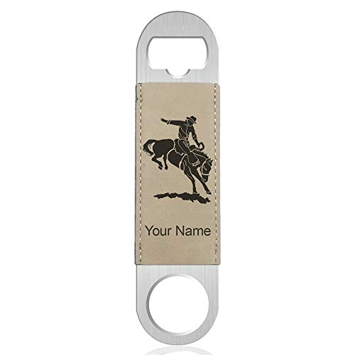 Bottle Opener, Bronco Rider, Personalized Engraving Included (Faux Leather, Light Brown)