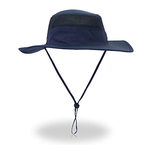 Duakrs Unisex Wide Brim Sun Hat,Outdoor UPF 50+ Waterproof Boonie Hat Summer UV Protection Sun Caps (Deep Blue)