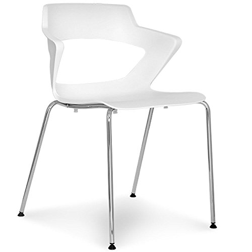 Zee Polypropylene Four Leg Stack Chair with Wing Arms White Poly Shell/Chrome Frame Dimensions: 22