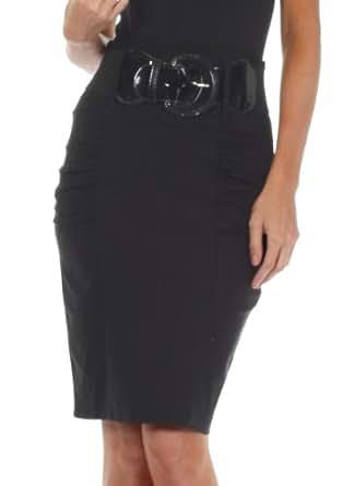 Sakkas IMShirrKneeBelti-9645 Petite High Waist Shirred Stretch Pencil Skirt with Wide Belt - Black / S