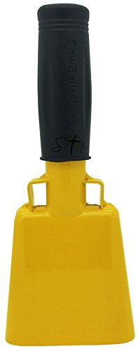 6.1 inch Golden Yellow Bell Black Handle Cowbell with Stick Grip Handle Used for Cheering at Sporting Events - Cow Bell by Stewart -