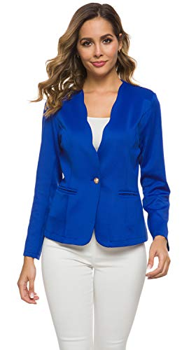 Women's One Button Slim Fit Casual Office Work Blazer Suit Jacket Royal Blue, X-Large