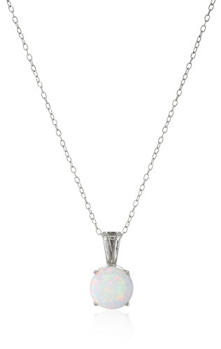 Sterling Silver Created Opal 8mm October Birthstone Solitaire Pendant Necklace, 18
