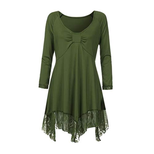 Femme Chemisier Uni Col Rond Green Body Longues Manches Chemise Xmiral 8qxwdP8