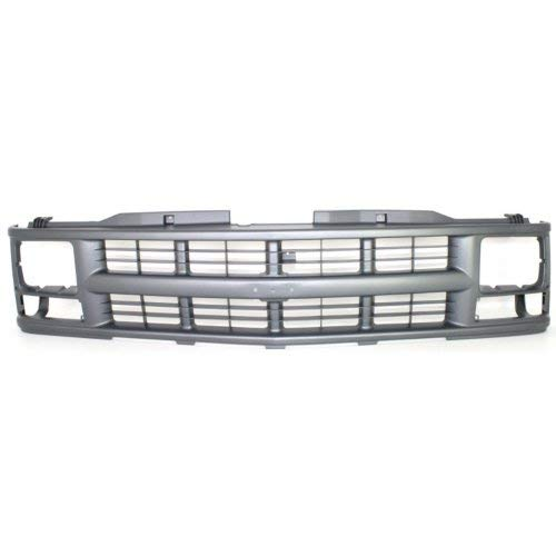 (Grille Assembly Compatible with CHEVROLET C/K FULL SIZE P/U 1994-2000/SUBURBAN 1994-1999 Cross Bar Insert Painted-Silver Gray with Single Sealed Beam Headlight)