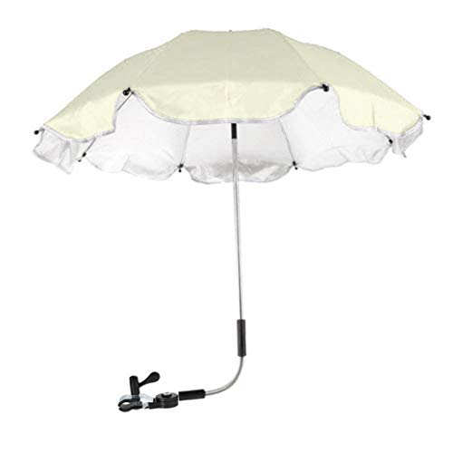 Baby Stroller Umbrella,Sunbona Baby Stroller Cover Parasol with Universal Clamp for Sun Rain Protection UV Rays Outdoor Umbrella (Beige)