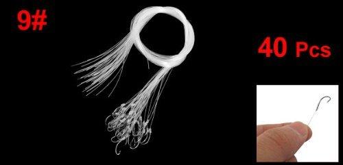 40 Pcs 9 # 50cm Longueur d'eau douce gris Crochet Effacer Ligne de pêche