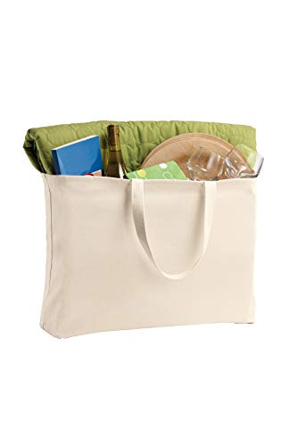 3 Pack Reusable Grocery Tote Bags, Heavy Natural Canvas Twill, 15
