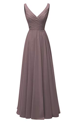 - Long Bridesmaid Dresses Double V Neck Chiffon Wedding Evening Gown Plum US18W