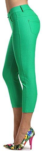 - Prolific Health Women's Jean Look Jeggings Tights Slimming Many Colors Spandex Leggings Pants S-XXXL (Small, Green Capri)