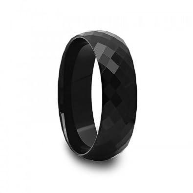 Amazon Com 8 Mm Mens Black Tungsten Carbide Rings Wedding Bands