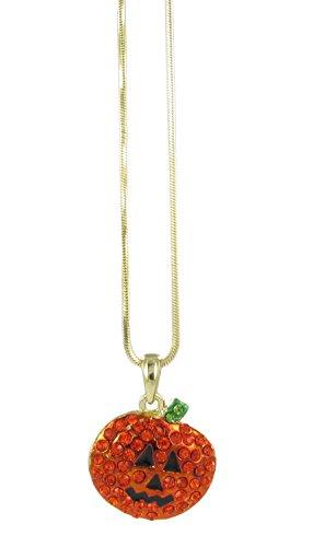 RUL Rhinestone Jack-O-Lantern Pendant Necklace - Halloween Pumpkin Jewelry