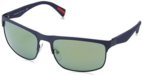 Prada Linea Rossa Men's PS 56PS Sunglasses Blue Rubber / Light Green Mirror Petrol - Sunglasses Rectangular Petrol