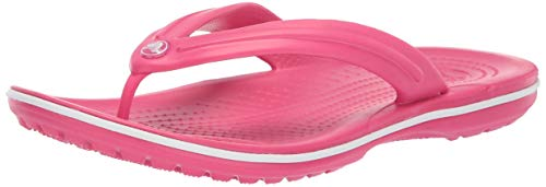 (Crocs Unisex  Crocband Flip Sandal, paradise pink/white, 6 US Men/ 8 US Women M US)