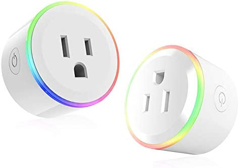 WiFi Mini Smart Plug Outlet Work with Alexa Google Assistant, Wireless Smart Socket with Night Light, Timer Function Device Sharing, Wall Plug no Hub Required APP Remote Control from Anywhere 2 Pack