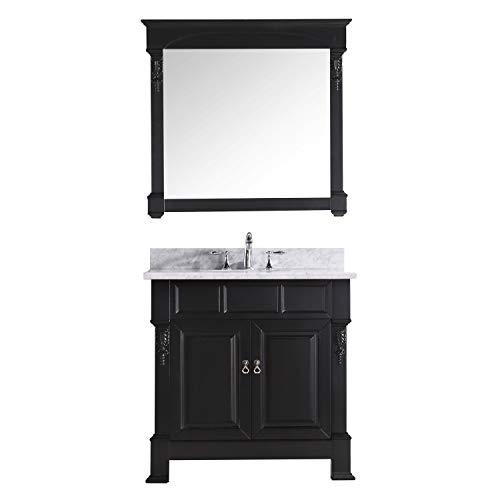 Basin Vanity Espresso Single (Virtu USA GS-4036-WMRO-DW Huntshire 36-Inch Single Sink Bathroom Vanity with Mirror and Ceramic Basin, Dark Walnut Finish)