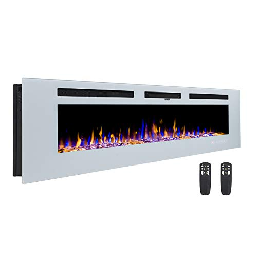 3GPlus 60 Inches Wall Recessed Electric Fireplace Wall Mounted Heater Crystal Stone Flame Effect 3 Changeable Color, 2 Remotes, 1500W Fireplace -White