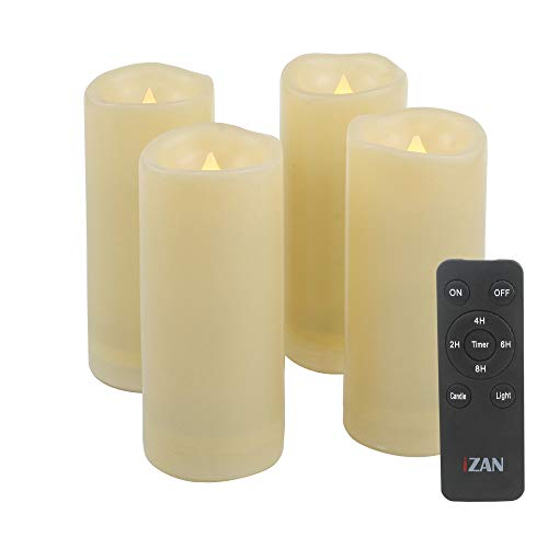 """iZAN 4 Pack Flameless Battery Operated LED Pillar Candles with Remote Outdoor Waterproof Flickering Decorative Lights for Halloween Christmas Home Kitchen Décor Wedding Party Event Decorations 2""""x5"""" ()"""
