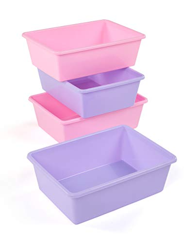 (Tot Tutors XL081 Large Plastic Storage Bins, Set of 4 (Pink, Purple))