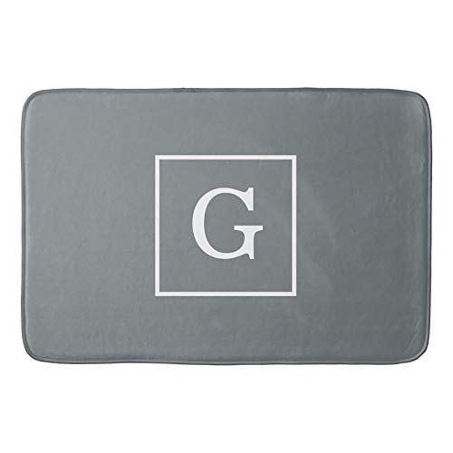 Charcoal Gray White Framed Initial Monogram Bathroom Mat Kicthen Rug 23.6x15.7inches