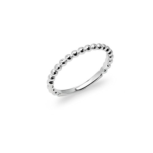 River Island Jewelry - 925 Sterling Silver Very Fine Stackable Beaded Band Wedding Ring - Size 6 - Olympic Costumes Ideas