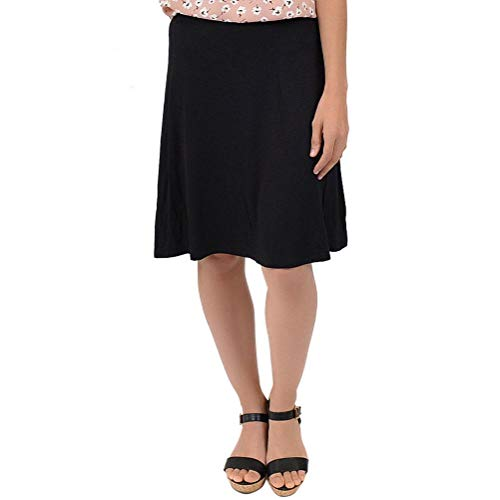 (Stretch is Comfort Girl's A-Line Knee Length Flowy Skirt Black Small)
