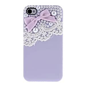 ZLXUSA (TM) Bow with Beads and Beautiful Lace Covered Hard Case with Glue for iPhone 4/4S Purple