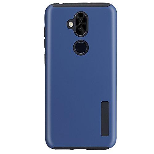 Asus ZenFone ZC600KL Case, Zenfone 5Q Dual Layer Rubber Armor Hard Plastic PC + Soft TPU Shockproof Protective Case for Asus ZenFone 5 Lite zc600kl Phone Case 6.0 Inches (Navy Blue)