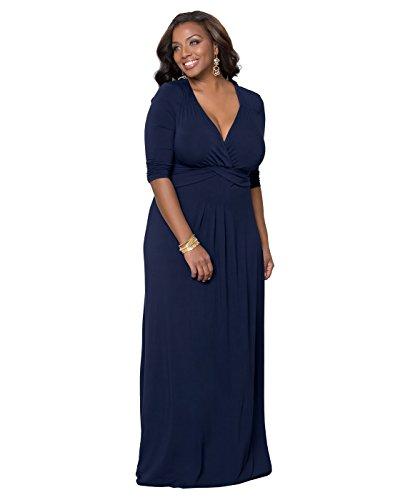 Kiyonna Women's Plus Size Desert Rain Maxi Dress 2x In the Navy