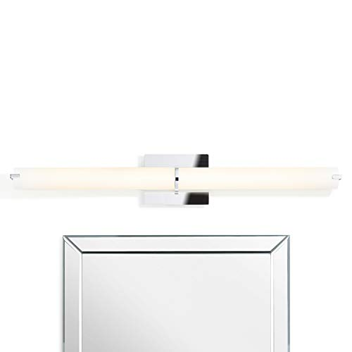 LED Vanity Bathroom Sconce Light - Chrome Metal, Daylight 3000 Kelvin, Frosted Glass, Dimmable, Damp Located, Makeup Mirror Wall Lamp - Atlas Collection by Brooklyn Bulb Co.