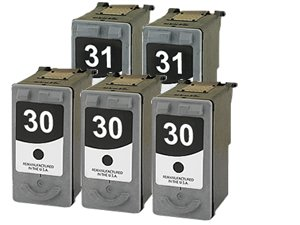 Remanufactured Canon PG-30 & CL-31 Ink Cartridges: 5-Pack (3Bk + 2C) for use with Canon PIXMA iP1800 iP2600 MP140 MP190 MP210 MP220 MP470 MX300 MX310