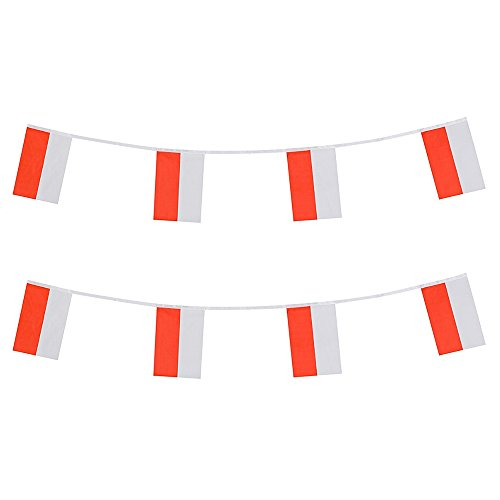 KalaBear Poland Flags,Polish National Country World Pennant String Flags Banners For Party Events Decorations Classroom Garden Olympics Festival Grand Opening Bar Sports ()
