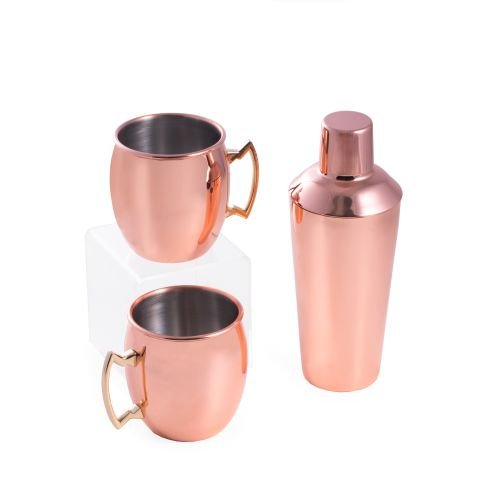 Bey-Berk BS951SET Copper Plated Stainless Steel 25 oz Shaker with Strainer Top One Size Pink