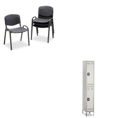 KITSAF4185BLSAF5523GR - Value Kit - Safco Double Tier Locker (SAF5523GR) and Safco Contour Stacking Chairs (SAF4185BL)