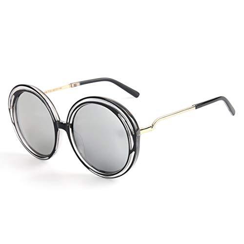 De Femme Polarisées TLMY Grand Black Lens Lunettes Lunettes Soleil Frame Soleil Lunettes De Cadre Mode de Soleil Rondes Silver Sff8wtxq4