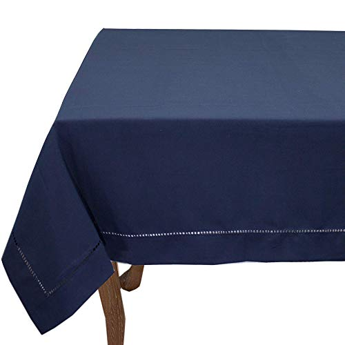 Fennco Styles Rochester Collection Classic Solid Color Hemstitched Border Tabletop Collection for Dining Table, Dinner Parties, Wedding, Machine Washable, Navy Blue, 65 x 140 Inch Tablecloth